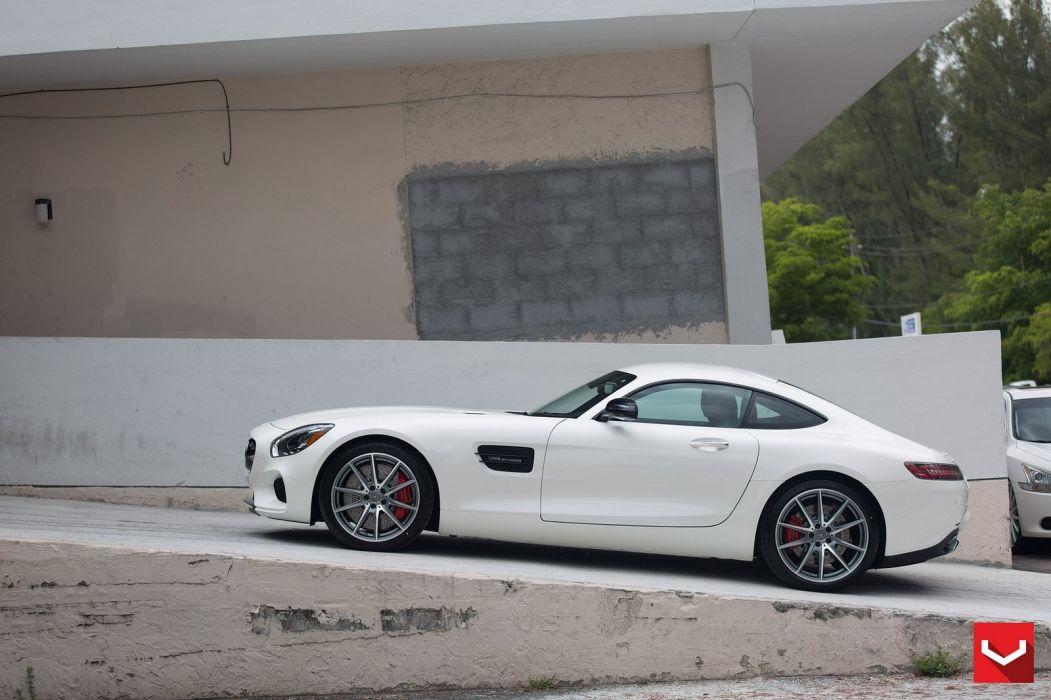 cars vossen Tuning wheels Mercedes GTS white wallpaper