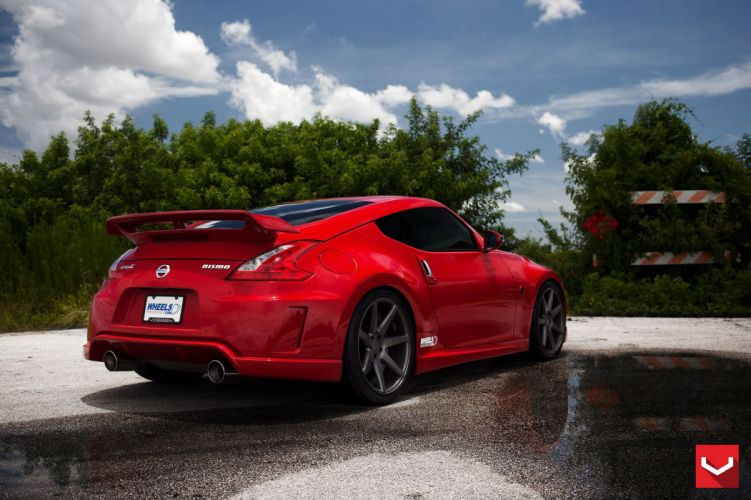 cars vossen Tuning wheelsNissan 370z red wallpaper