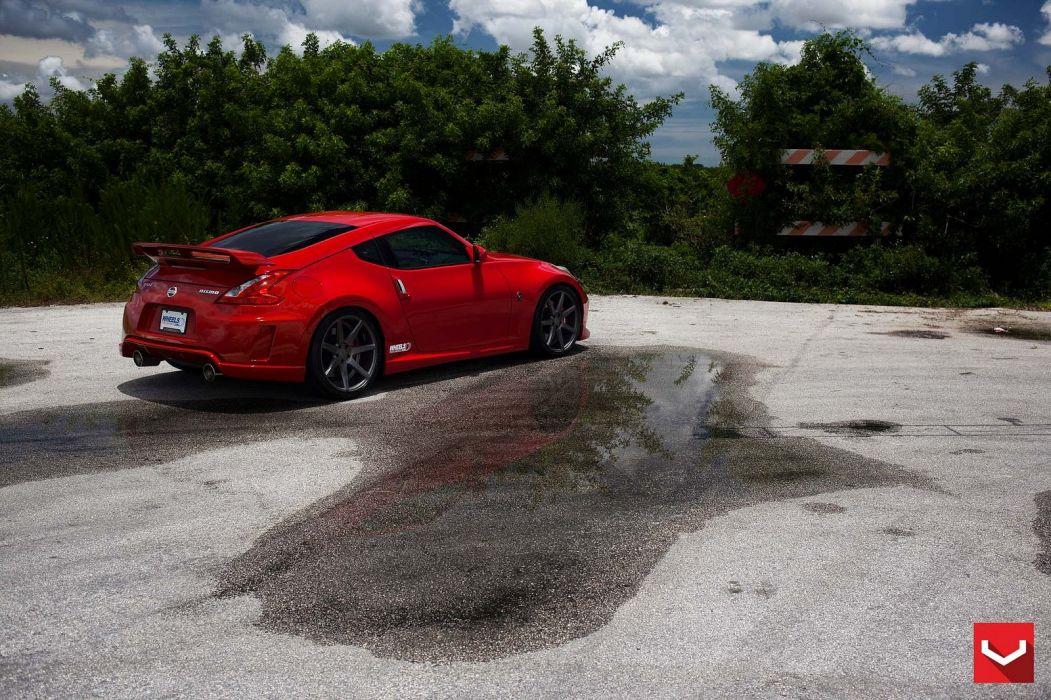 cars vossen Tuning wheelsNissan 370z red wallpaper