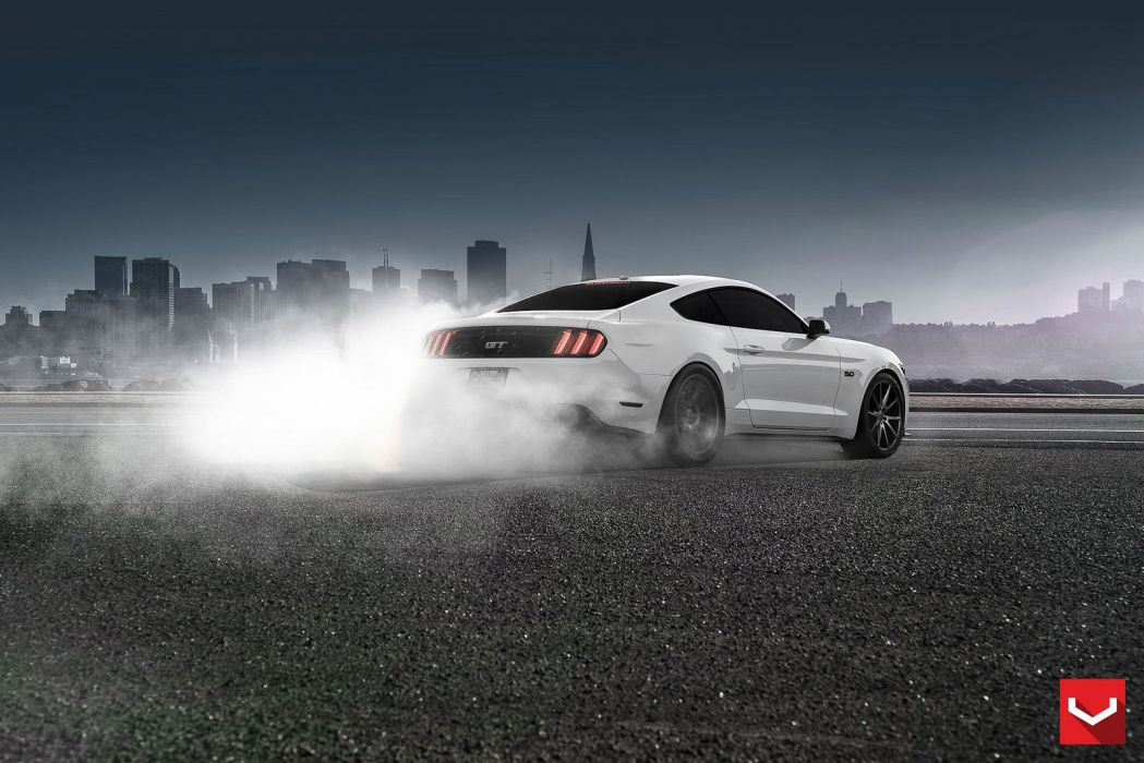 cars vossen Tuning wheels ford mustang white wallpaper