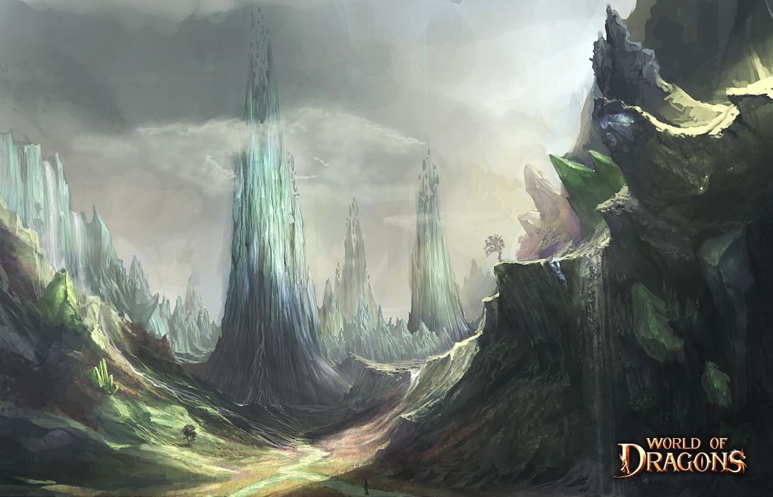 WORLD Of DRAGONS fantasy dragon exploration action fighting adventure 1wodrag artwork poster wallpaper