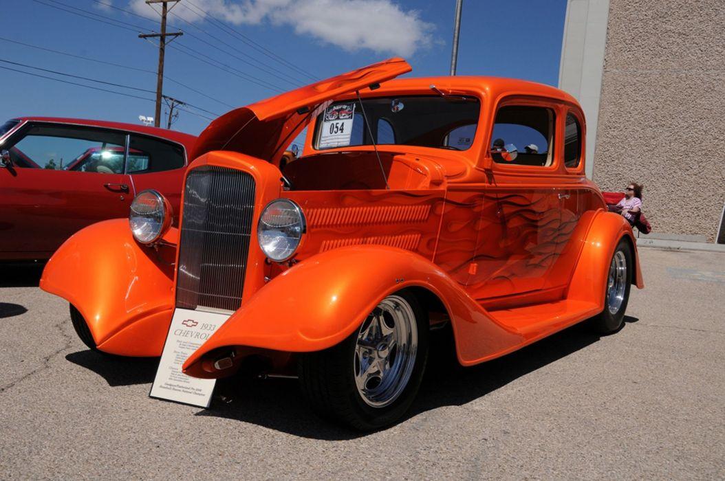 1933 Chevrolet Chevy Coupe Five Window Hot Rod Rodder Street Rodding USA 2048x1360-01 wallpaper