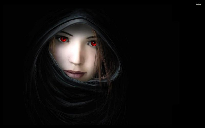 -red-eyed-girl-in-the-dark fantasy- wallpaper