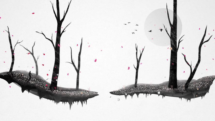 japon tree petals birds wallpaper