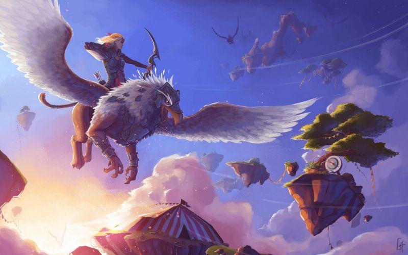 women warrior fantasy girl art artwork girl pheonix creature wallpaper