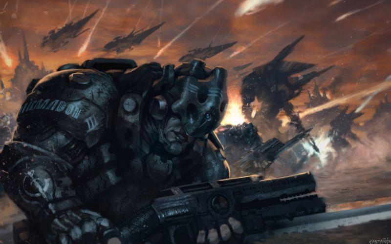 sci-fi warrior artwork art wallpaper