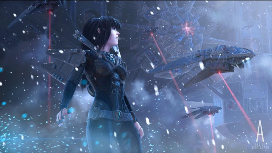 sci-fi women warrior art artwork girl futuristic wallpaper