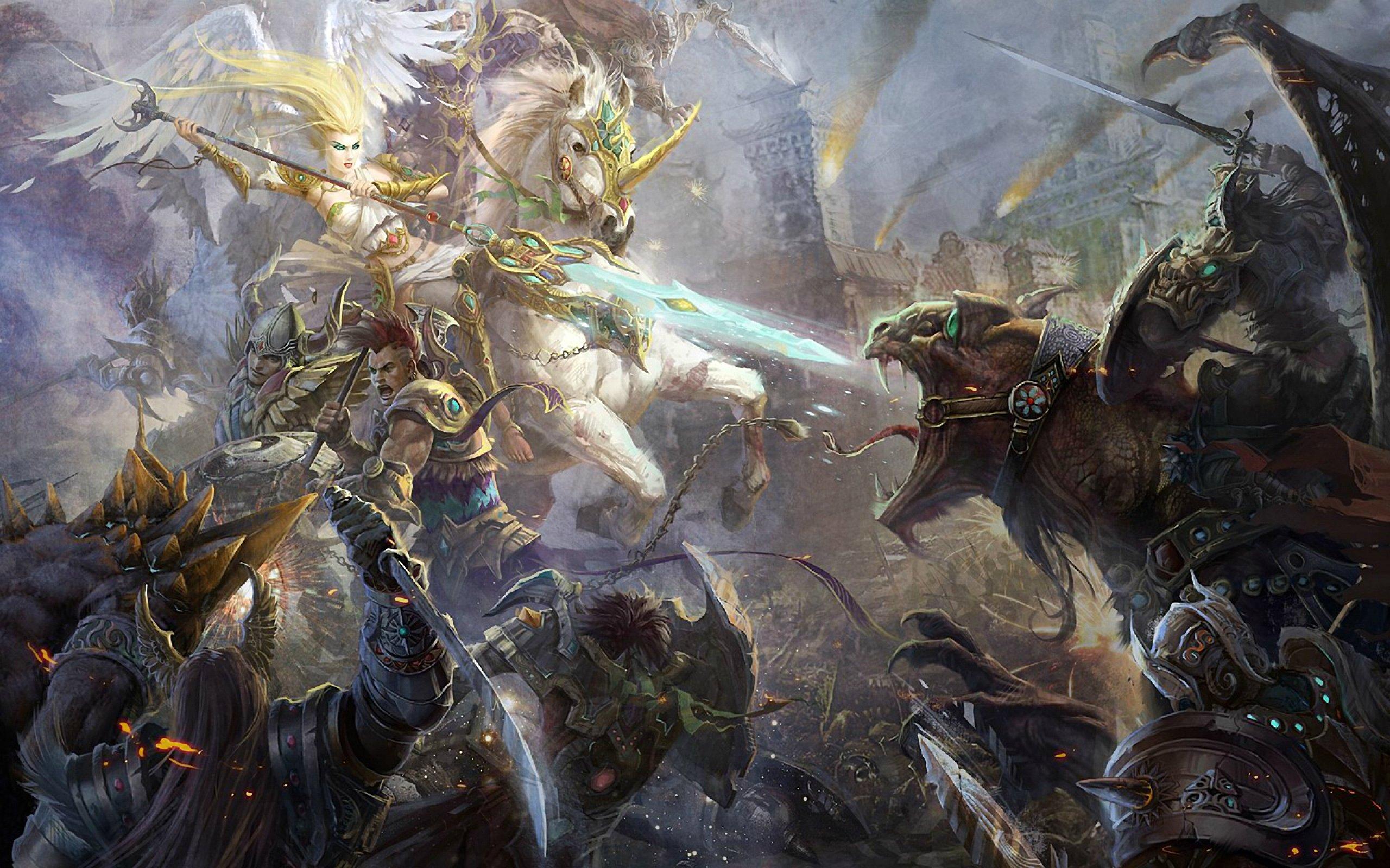 fantasy battle fighting warrior action art artwork