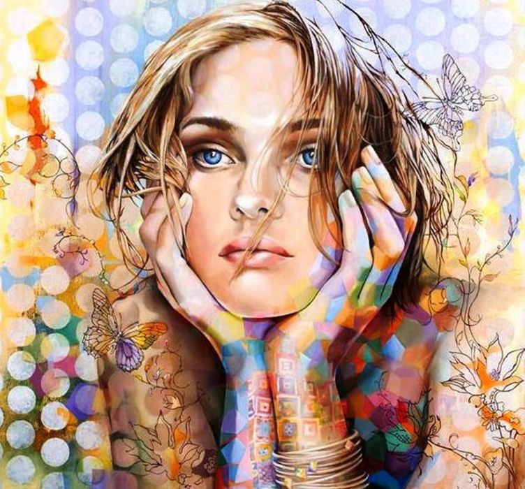 art girl painting color blue eyes face beautiful wallpaper