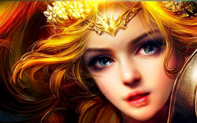 beauty blonde fantasy girl blue eyes beautiful wallpaper