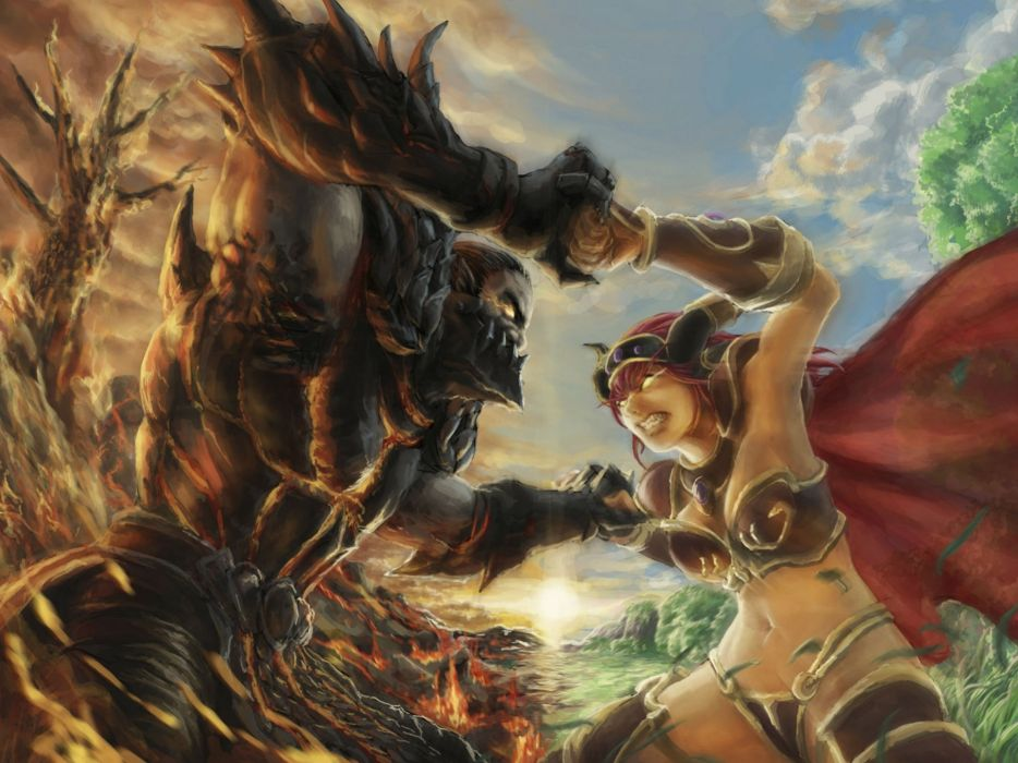 fantasy battle fighting warrior action art artwork wallpaper