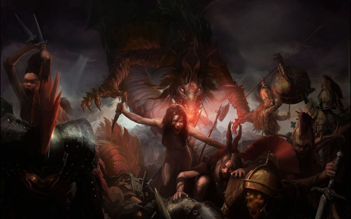 fantasy battle fighting warrior action art artwork wallpaper