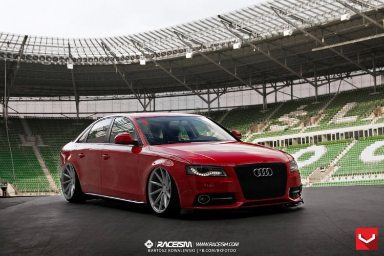 audi-a4 red vossen wheels tuning coupe cars wallpaper