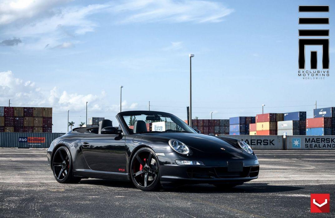 Porsche Carrera-S convertible black vossen wheels tuning coupe cars wallpaper