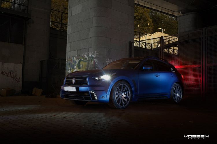 Infiniti-FX blue suv vossen wheels tuning coupe cars wallpaper