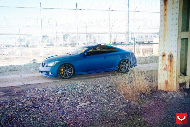 infiniti g37 blue vossen wheels tuning coupe cars wallpaper