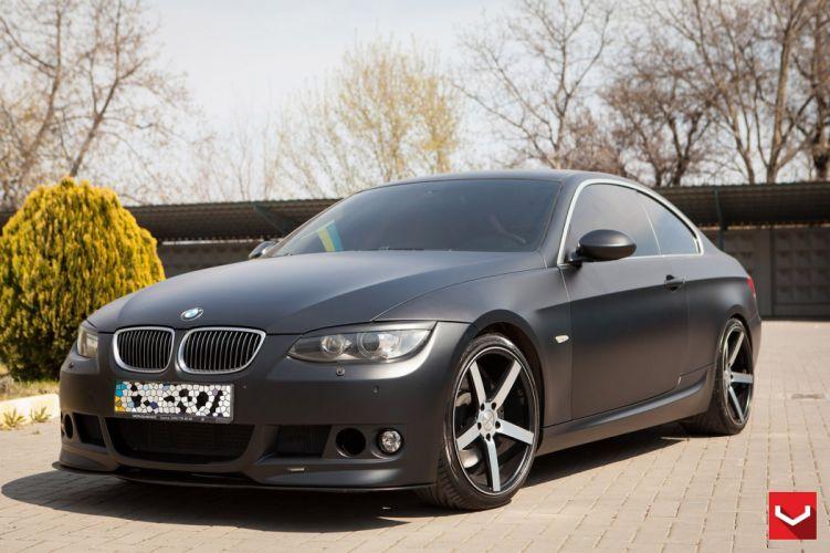 BMW 3-Series Matte Black vossen wheels tuning coupe cars wallpaper