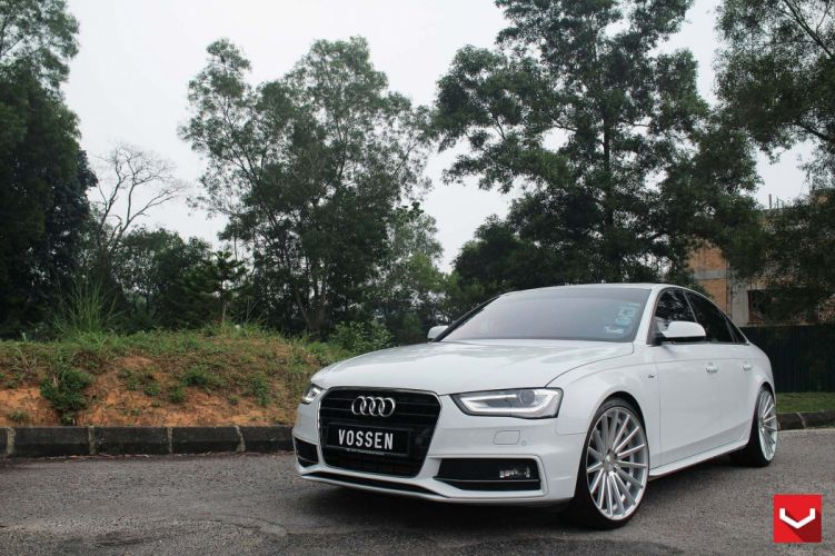 Audi-a4 white vossen wheels tuning cars wallpaper