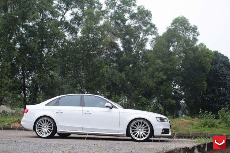 Audi-a4 white vossen wheels tuning cars wallpaper