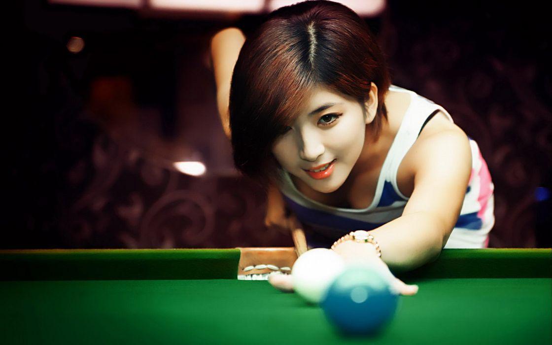 BILLIARDS pool sports 1pool sexy babe girl women woman female asian wallpaper