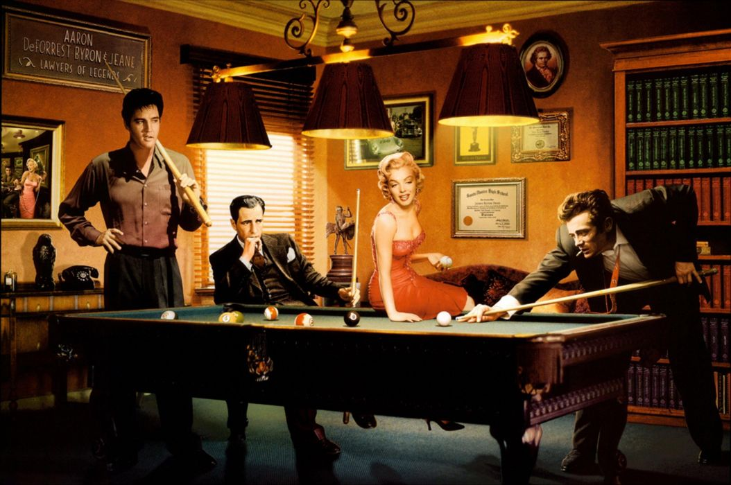 BILLIARDS pool sports 1pool sexy babe girl women woman female art artwork marilyn monroe elvis presely james dean wallpaper