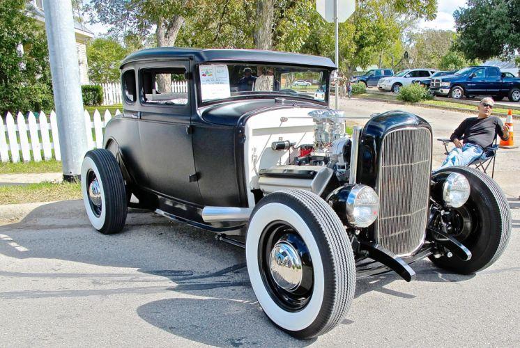 1930 Ford Coupe Five Window Hot Rod Street Custom Old School Black Primer USA 2113x2153-01 wallpaper