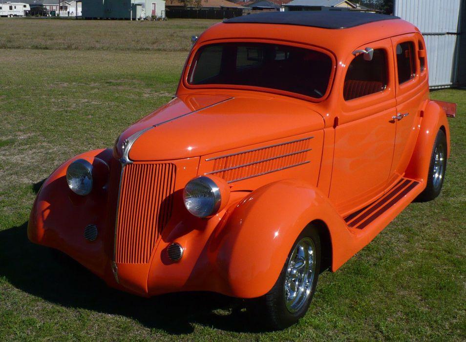 1936 Ford Sedan Four Door Street Rod Hot Rodder Red USA 2048x1503-01 wallpaper