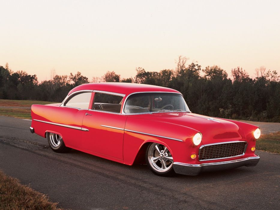 1955 Chevrolet Chevy Bel Air Coupe Super Street Hot Rod Rodder Red USA 1600x1200-01 wallpaper