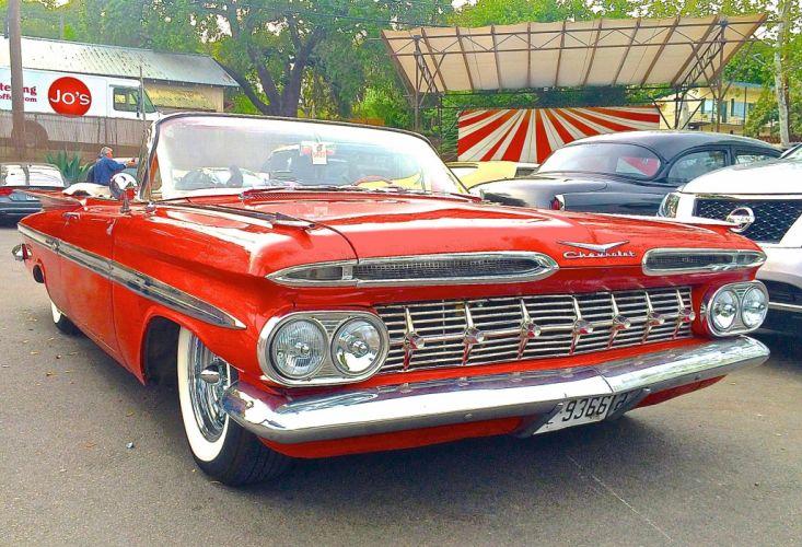 1959 Chevrolet Impala Convertible Custom Hot Rod Low Kustom Old School Red USA 2048x1397-01 wallpaper