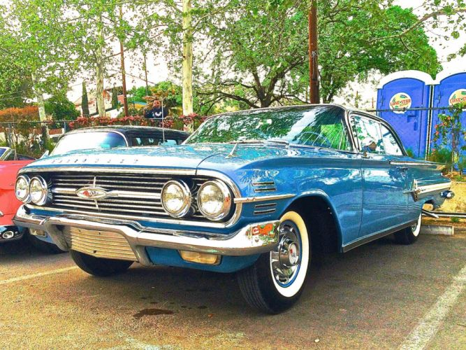 1960 Chevrolet Impala Coupe Classic Old Original Blue USA 2048x1536-02 wallpaper