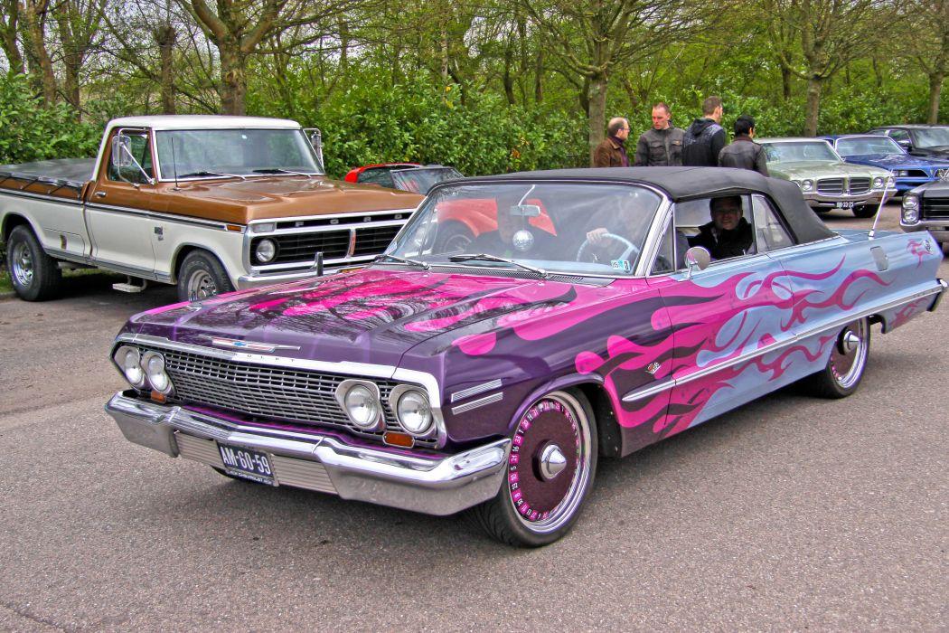 1963 Chevrolet Chevy Impala Convertible Street Rod Rodder Custom Low USA 3456x2304-01 wallpaper