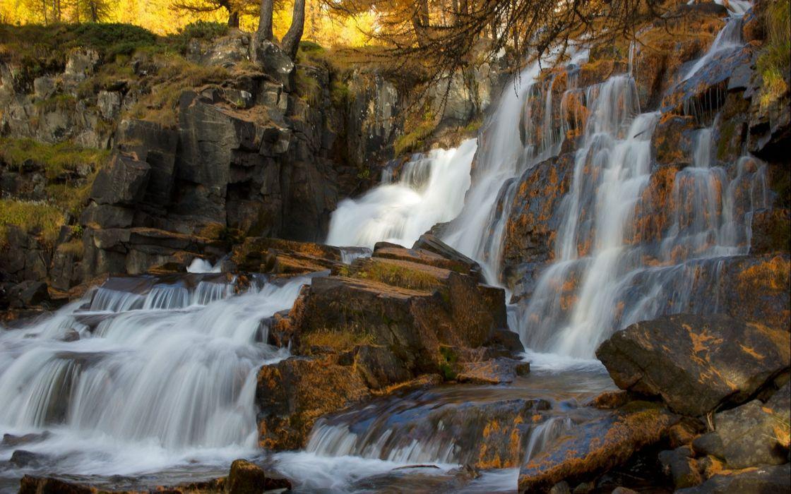 waterfall river landscape nature waterfalls autumn wallpaper