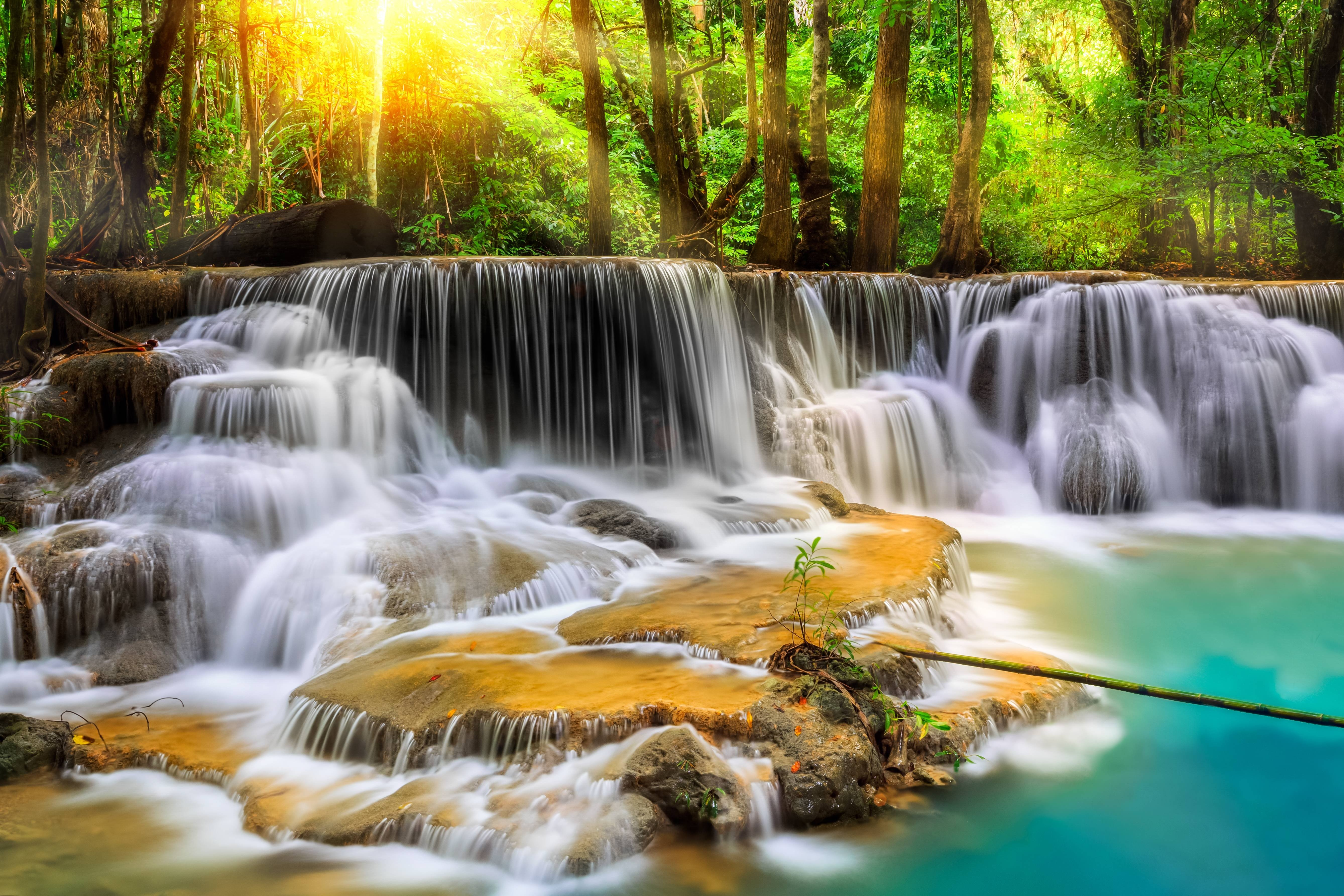 Waterfall river landscape nature waterfalls wallpaper for Waterfall it