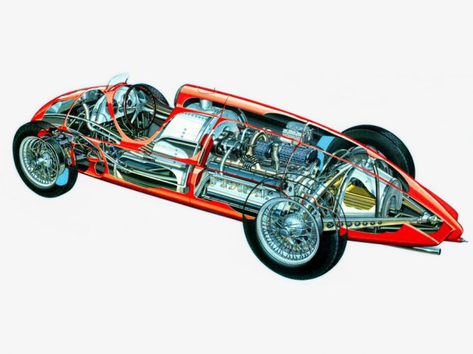 sportcars cutaway technical cars Alfa Romeo Tipo 512 Gran Premio 1940 wallpaper