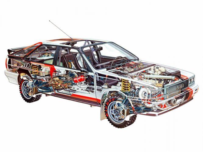 sportcars cutaway technical rally cars Audi quattro coupe wallpaper