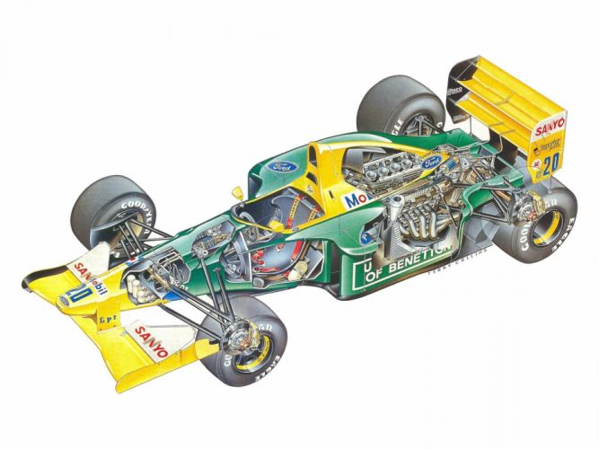 formula one sportcars cutaway technical Benetton B192 1992 wallpaper