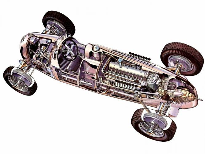 formula one sportcars cutaway technical cars Auto Union Typ-C wallpaper