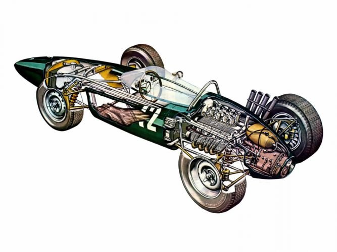 formula one sportcars cutaway technical BRM P578 1962 wallpaper