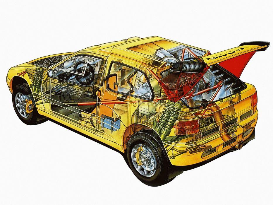 sportcars cutaway technical rally cars CitroA wallpaper