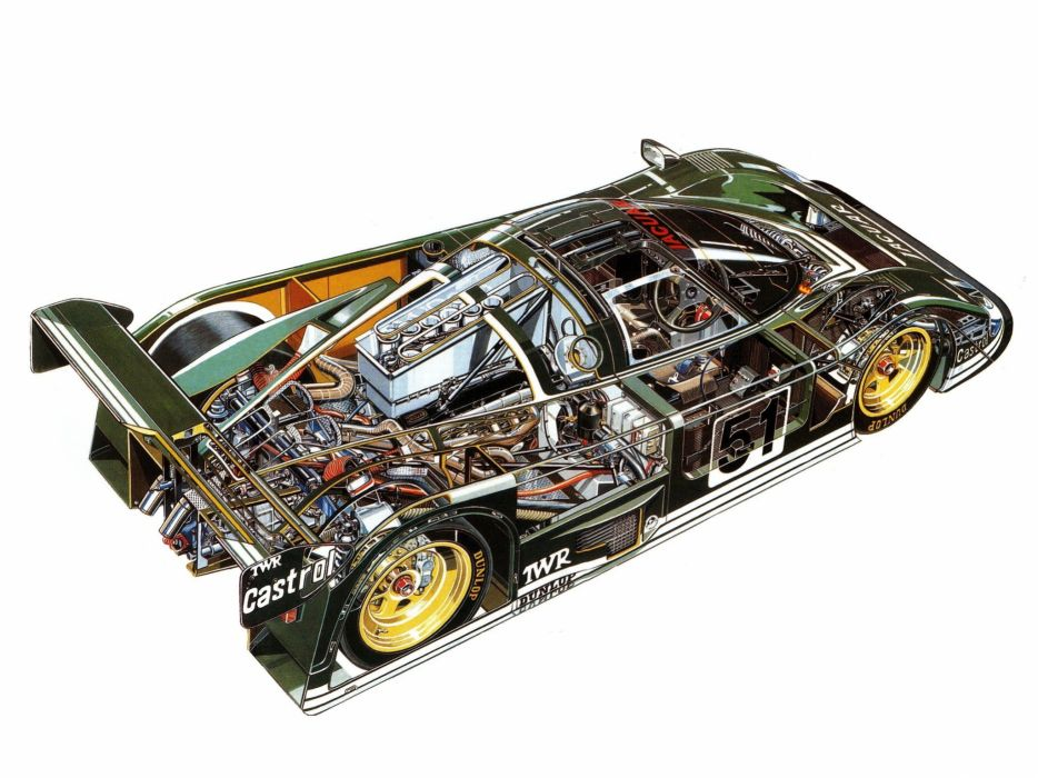 sportcars cutaway technical cars Jaguar XJR6 1985 wallpaper
