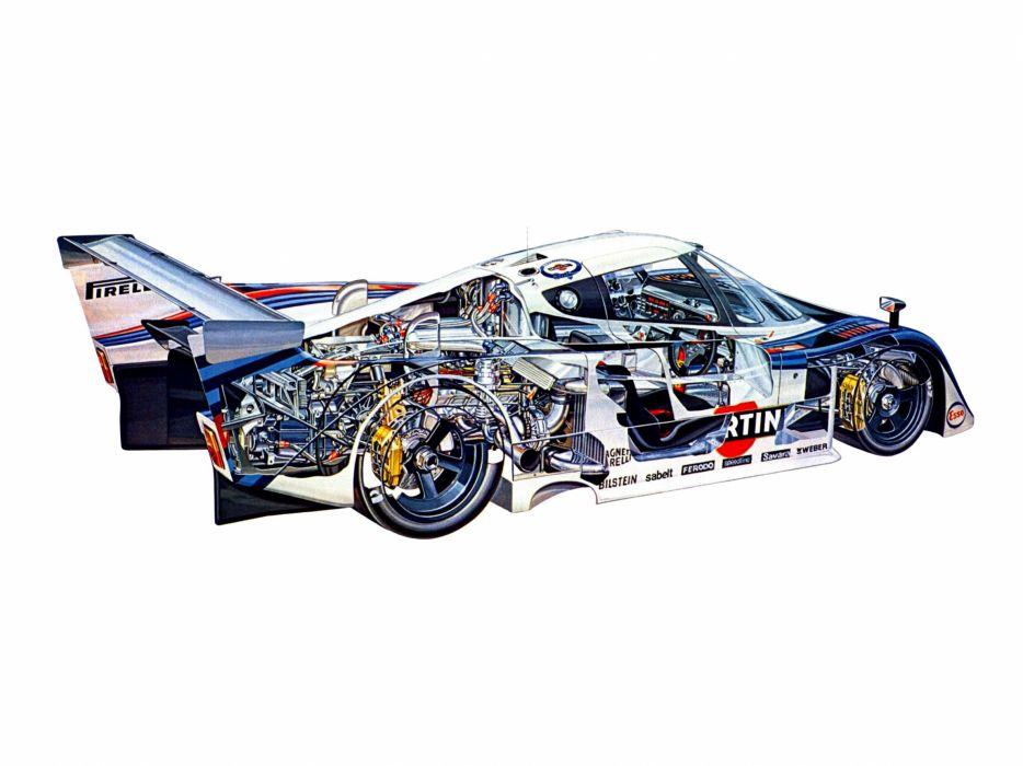 sportcars cutaway technical cars Lancia LC2 Group-C 1983 wallpaper
