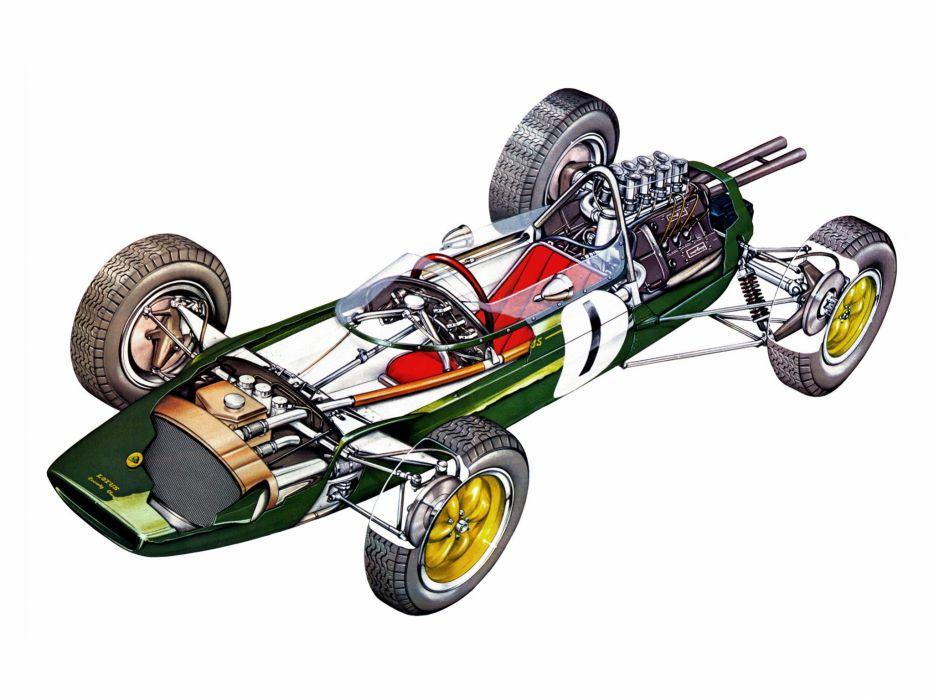 formula one sportcars cutaway technical Lotus-25 1962 wallpaper