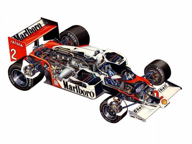 formula one sportcars cutaway technical McLaren MP4-2B 1985 wallpaper