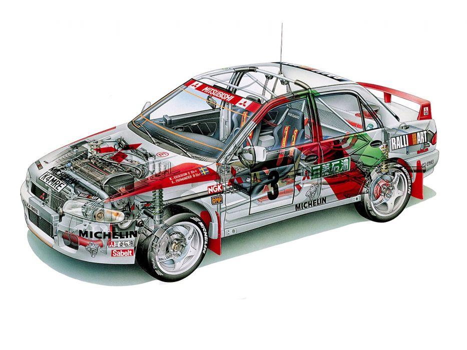 sportcars cutaway technical rally cars Mitsubishi Lancer Evolution III Gr-A WRC 1996 wallpaper