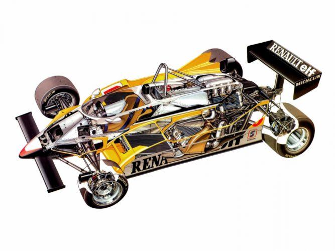 formula one sportcars cutaway technical Renault RE30 1981 wallpaper