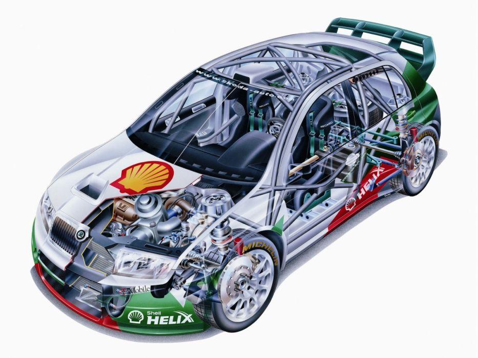 sportcars cutaway technical rally cars Skoda Fabia WRC 2003 wallpaper