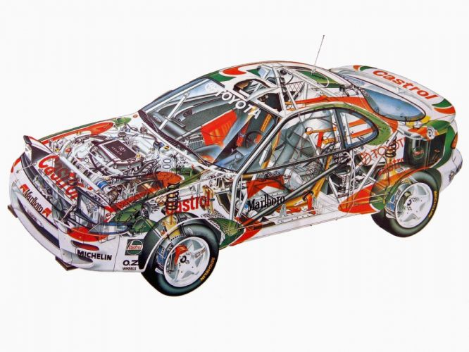 sportcars cutaway technical rally cars Toyota Celica Turbo 4WD Group-D wallpaper