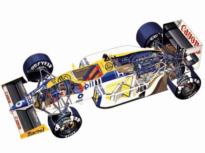 formula one sportcars cutaway technical Williams FW11 1986 wallpaper