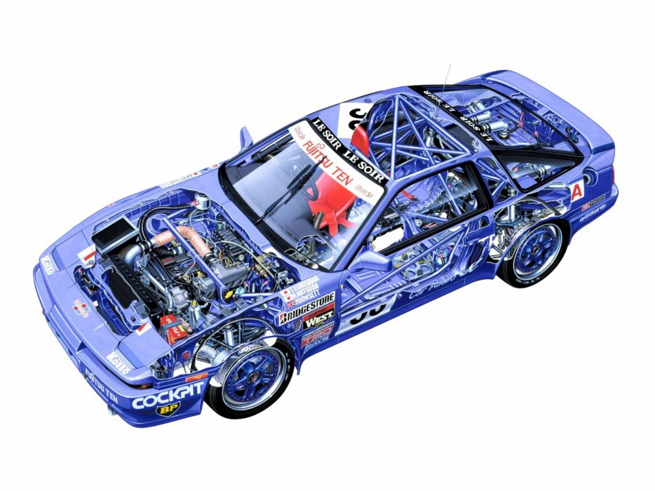 sportcars cutaway technical cars Toyota Supra Group-A 1990 wallpaper