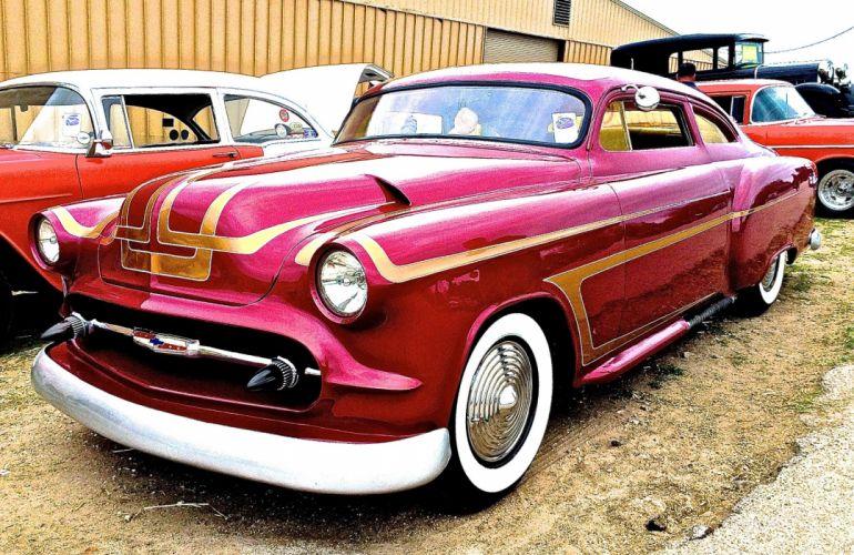 1953 Chevrolet Chevy Coupe Custom Kustom Chopped Top Hot USA 20480x1330-01 wallpaper